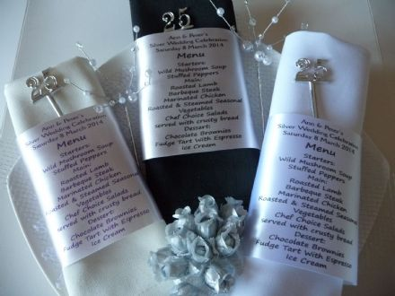 Silver Wedding Anniversary MENU and Place Setting Personalised NAPKIN RIBBON